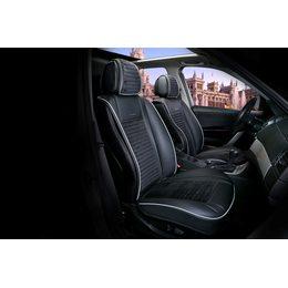 3D Каркасные автомобильные накидки на передние сиденья из велюра Madrid Premium цвет: Черный+серый