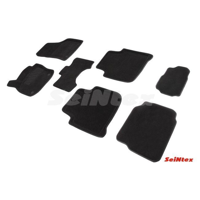 3D ворсовые коврики для SKODA Kodiaq 7мест (2016-) Черные