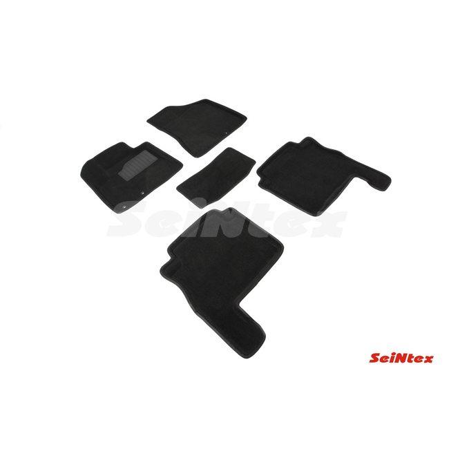 3D ворсовые коврики для HYUNDAI SANTA FE II рест (2010-2012) Черные