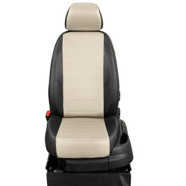 Комплект чехлов из экокожи для KIA Cerato II седан (2009-2013) (ЭкоЧехлы, эконом) Черный + Белый